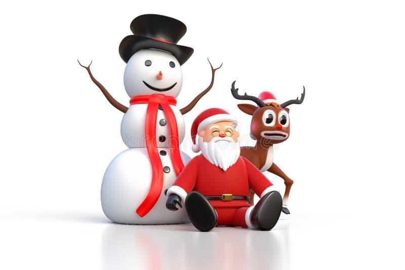 перевод 3D Санта Клауса сидя на земле с снеговиком и иллюстрация штока