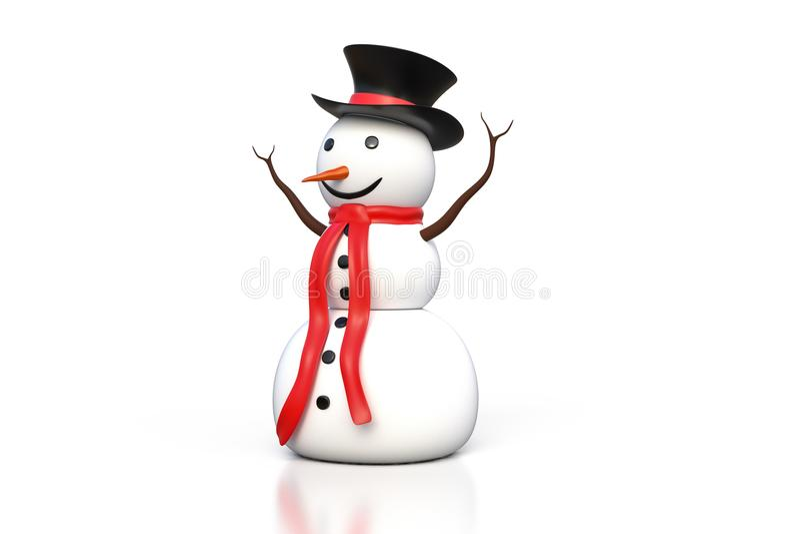перевод 3d снеговика с черной шляпой и красным изолятом шарфа иллюстрация штока