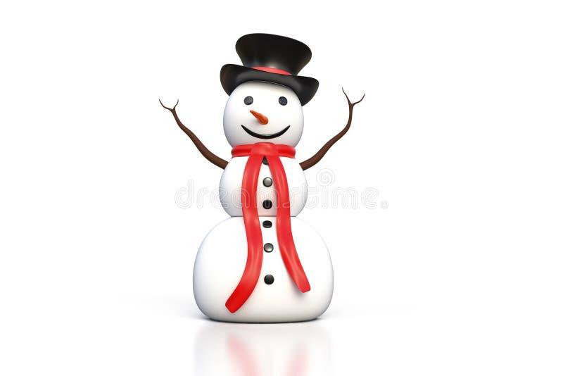 перевод 3d снеговика с черной шляпой и красным изолятом шарфа бесплатная иллюстрация