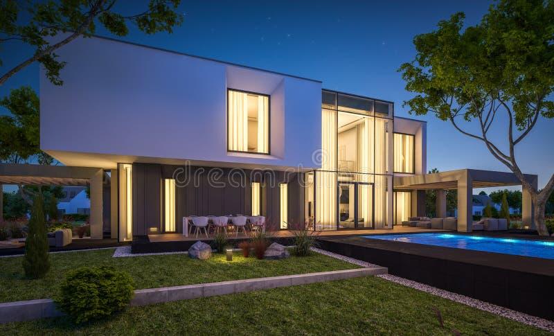 перевод 3d современного дома в саде на ноче стоковое изображение