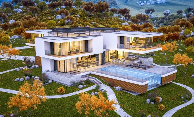 перевод 3d современного дома к осень реки холодная выравнивая wi стоковое фото rf
