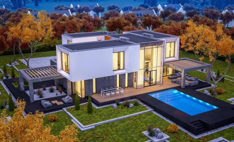 перевод 3d современного дома рекой стоковое фото rf