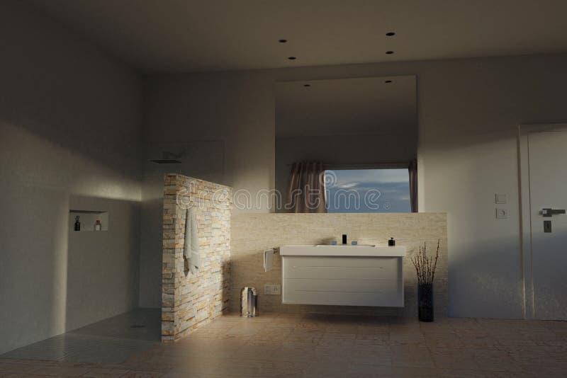 перевод 3d современной ванной комнаты с бежевыми каменными плитками и showe стоковые фотографии rf