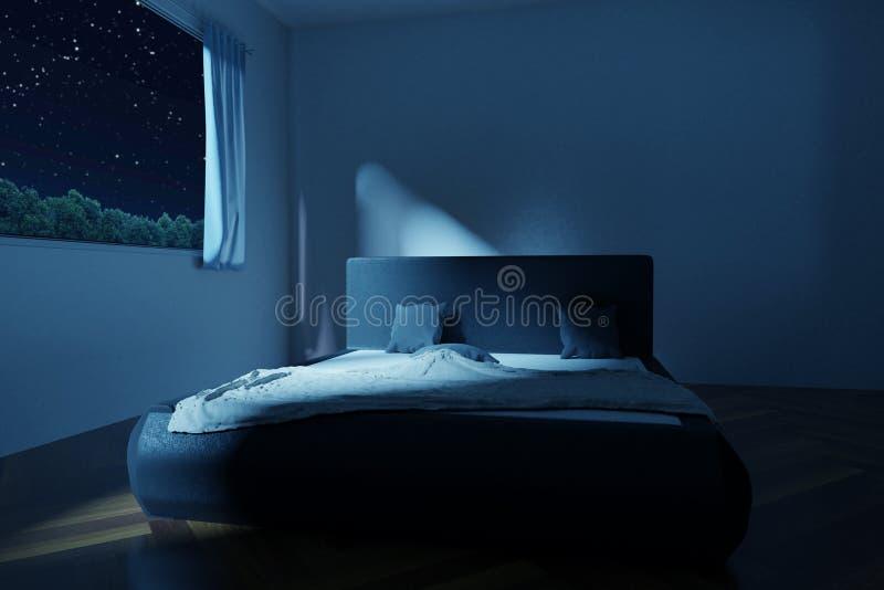перевод 3d спальни с отменянной и rumpled кроватью в звездах иллюстрация штока