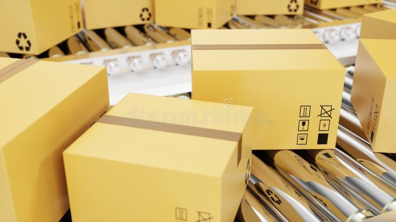 перевод 3D упаковывает поставку, обслуживание упаковки и пакетирует концепцию транспортной системы, картонные коробки на транспор иллюстрация вектора