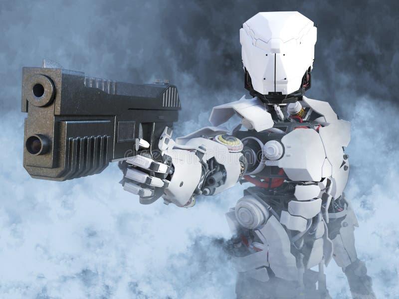 перевод 3D футуристического полисмена героя робота держа оружие иллюстрация вектора