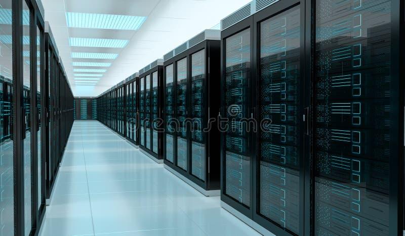 Перевод 3D центра данных комнаты сервера внутренний иллюстрация вектора