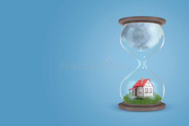 перевод 3d часов с меньшим разделенным домом на зеленой лужайке в низкой - половина часов, с большой серый идти дождь иллюстрация штока