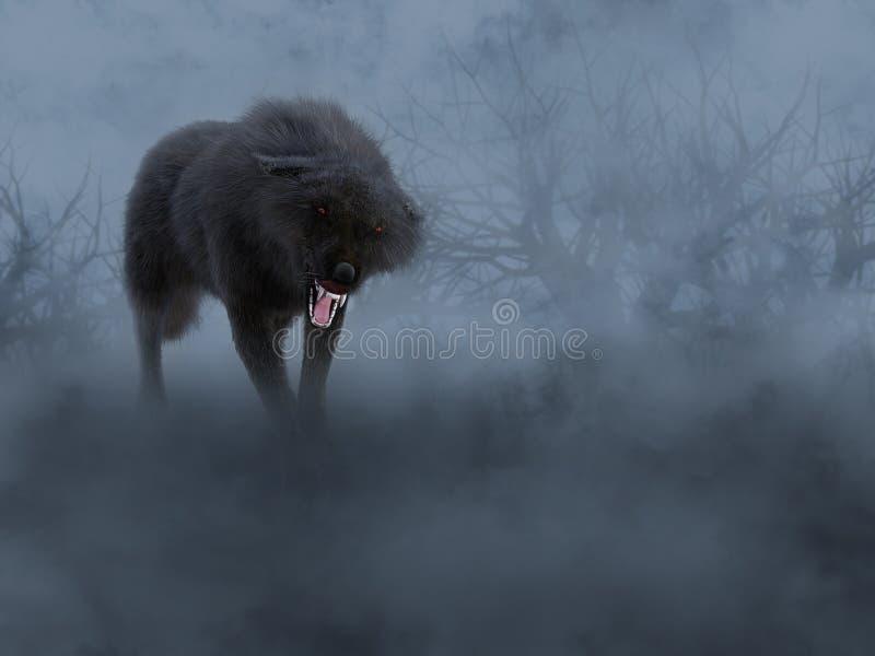перевод 3D черного волка с накаляя красными глазами иллюстрация вектора
