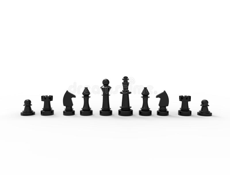 перевод 3D черных шахматных фигур изолированных на белой предпосылке иллюстрация штока