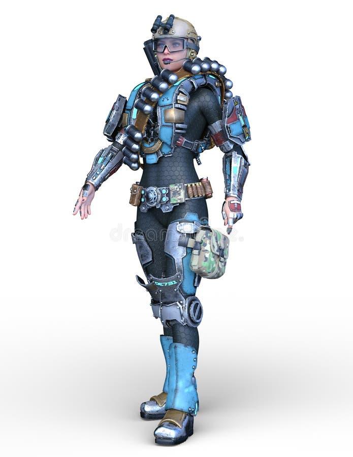 перевод 3D CG женщины кибер иллюстрация вектора