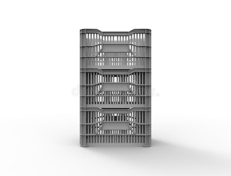 перевод 3d stackable пластиковой клети хранения изолированной в белой предпосылке иллюстрация штока