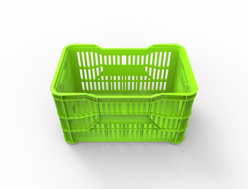 перевод 3d stackable пластиковой клети хранения изолированной в белой предпосылке бесплатная иллюстрация