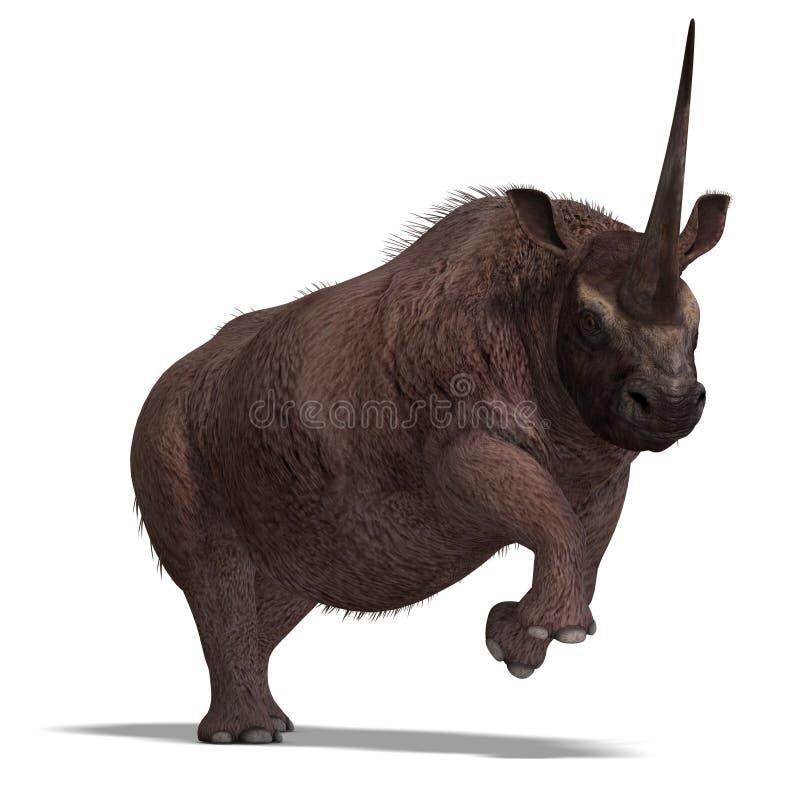 перевод elasmotherium динозавра 3d иллюстрация вектора