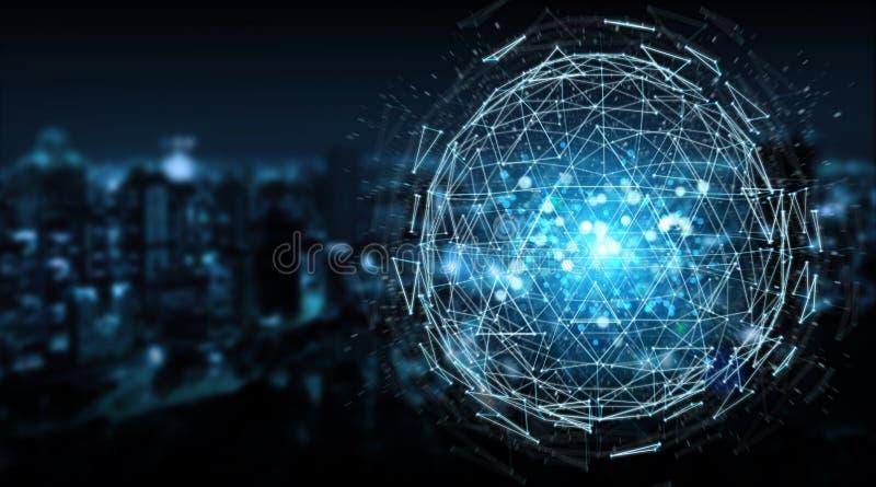 Перевод hologram 3D сферы треугольника цифров взрывая бесплатная иллюстрация