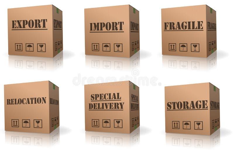 перевозка груза перестановки ввоза экспорта картона коробки иллюстрация вектора