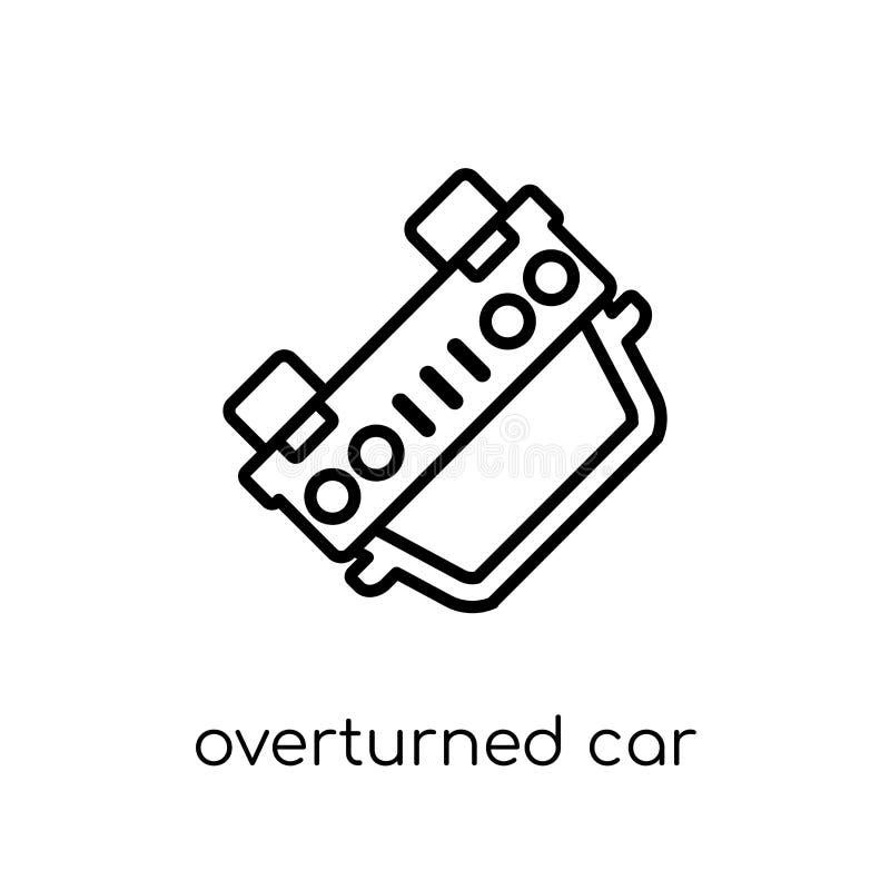 Переворачиванный значок автомобиля Ультрамодный современный плоский линейный вектор переворачивал иллюстрация штока