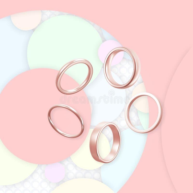 Перевод золота 3D колец обручальных колец ювелирных изделий розовый стоковая фотография rf