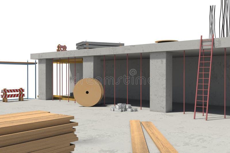 Перевод здания под конструкцией на белой предпосылке бесплатная иллюстрация