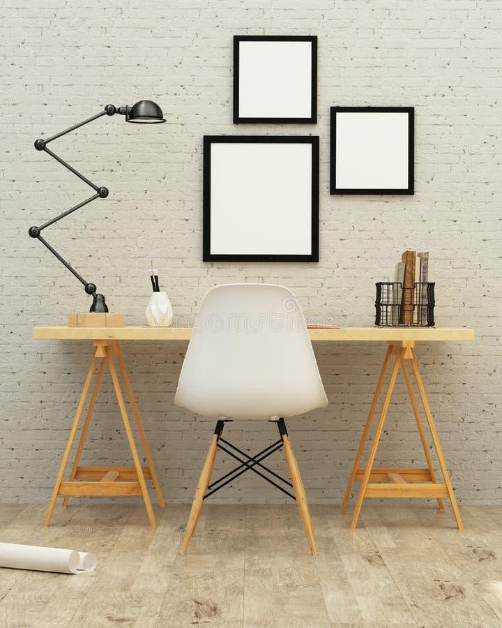 Перевод дизайна интерьера 3d комнаты деятельности стоковые фото