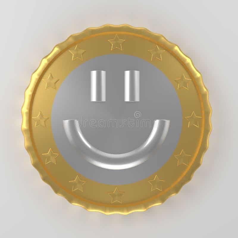 Перевод монетки 3d улыбки иллюстрация вектора