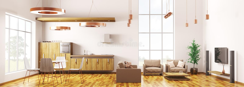 Перевод панорамы 3d современной квартиры просторной квартиры внутренний иллюстрация штока