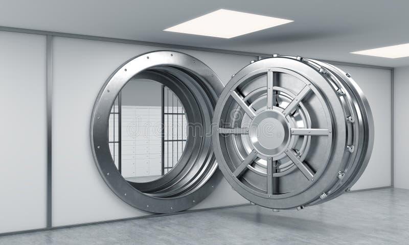 перевод 3D большого открытого круглого сейфа металла с запертой замк-коробкой бесплатная иллюстрация