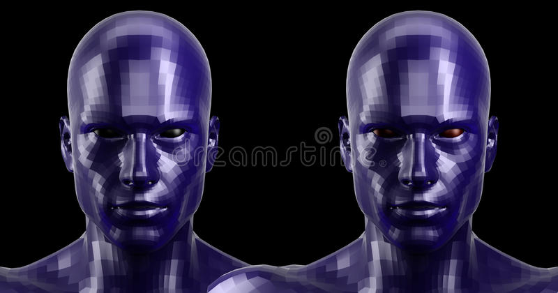 перевод 3d 2 гранили голубые головы андроида смотря передним на камере стоковая фотография
