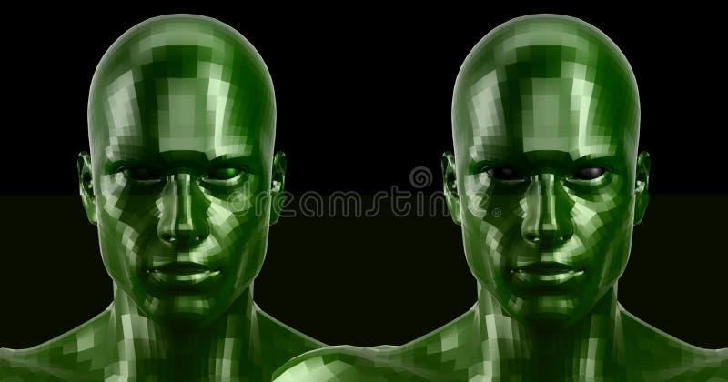 перевод 3d 2 гранили зеленые головы андроида смотря передним на камере стоковое фото rf