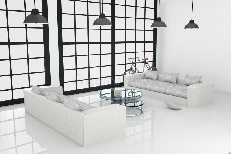 перевод 3D: иллюстрация белого дизайна интерьера большой живущей комнаты иллюстрация штока
