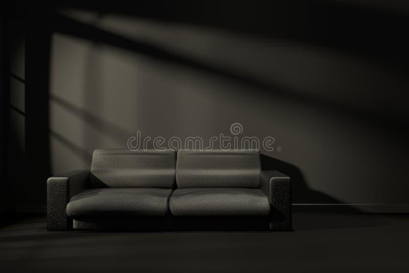 перевод 3D: иллюстрация внутренней комнаты современного черного чувства с современной кожаной мебелью софы на середине комнаты иллюстрация вектора