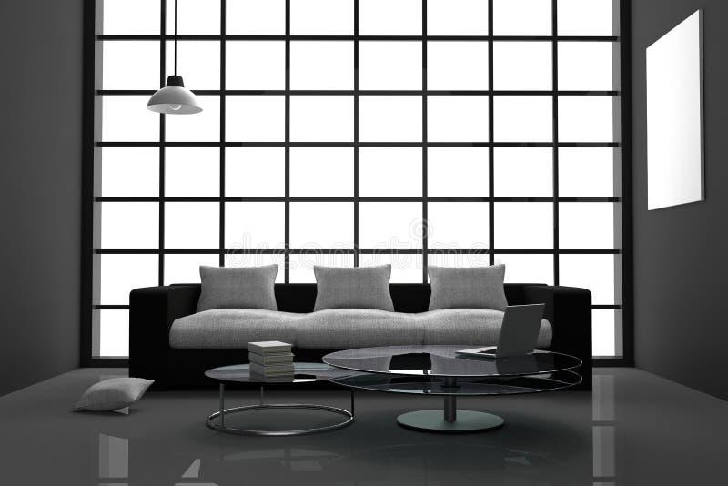 перевод 3D: иллюстрация комнаты современного внутреннего минимализма черно-белой живущей с портативным компьютером, и книгой на с иллюстрация вектора