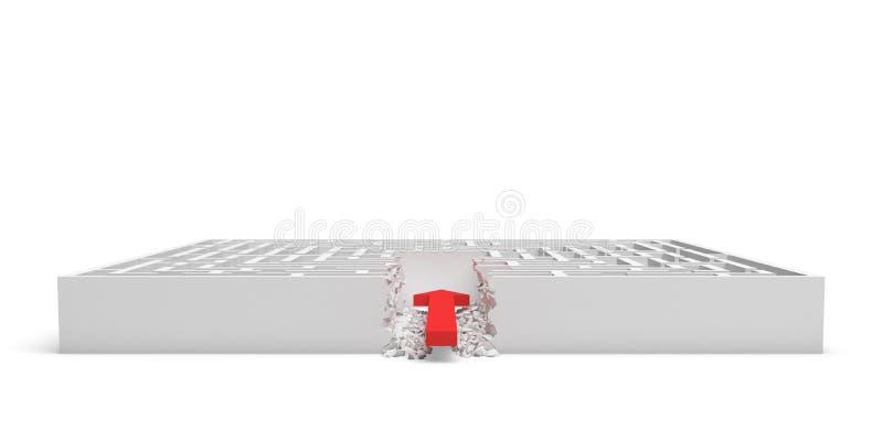 перевод 3d квадратного лабиринта при красная стрелка занимая к центру изолированному на белой предпосылке иллюстрация штока