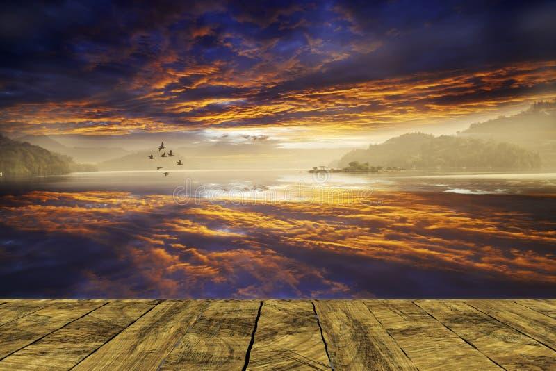 перевод 3d красивого ландшафта с плитой оно может положить staf иллюстрация штока