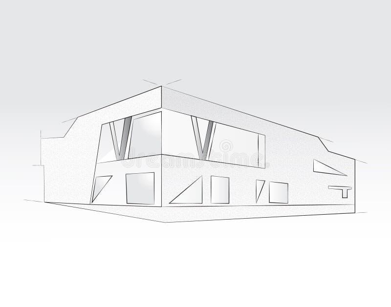 перевод 3D офисного здания, белой предпосылки Концепция - современная архитектура, конструируя иллюстрация штока
