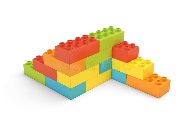 перевод 3d пестротканых кирпичей игрушки составляя, который 2-встали на сторону лестницы на белой предпосылке бесплатная иллюстрация