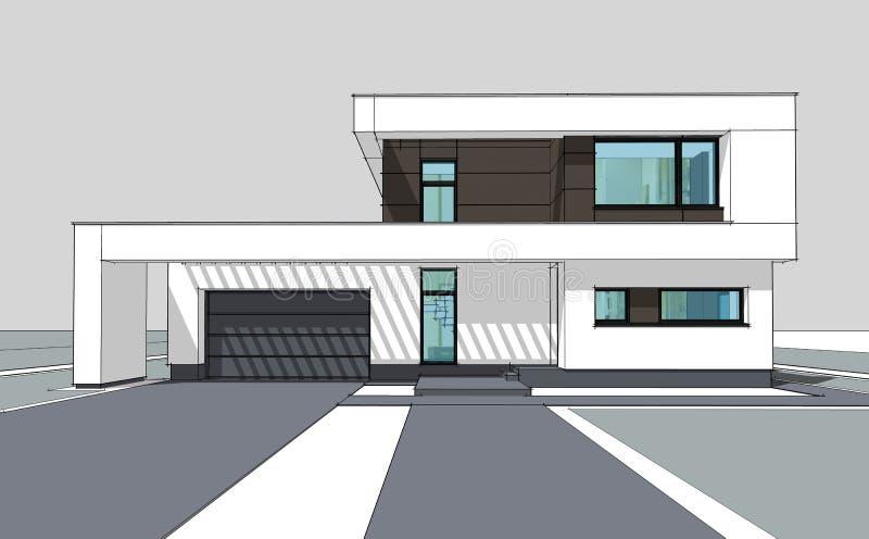 перевод 3d современного уютного дома бесплатная иллюстрация
