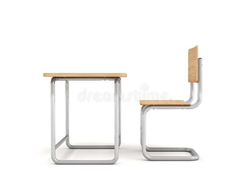 перевод 3d стола школы и предводительствует оба сделан из древесины утюга и света на белой предпосылке иллюстрация вектора