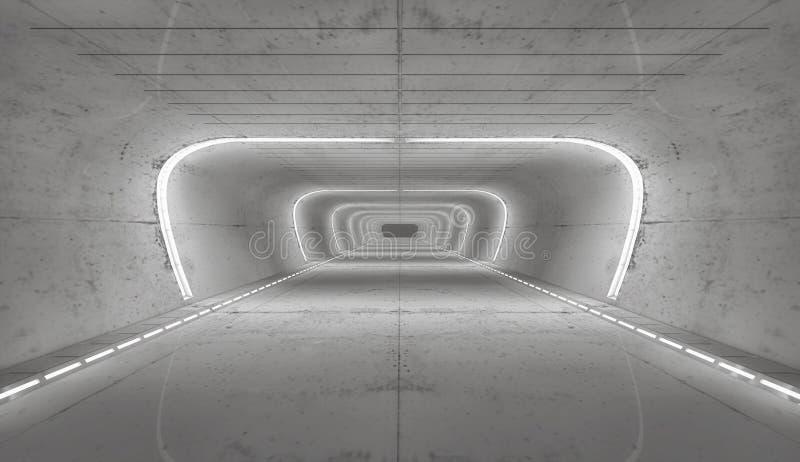 перевод 3d Футуристический пустой интерьер стоковые изображения rf