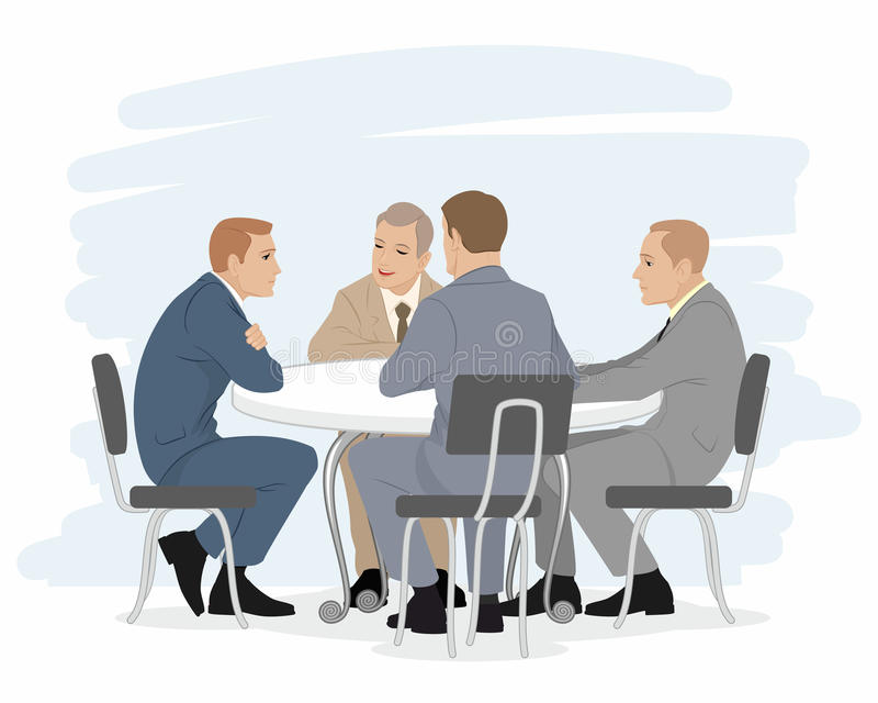4 переговора бизнесменов иллюстрация штока