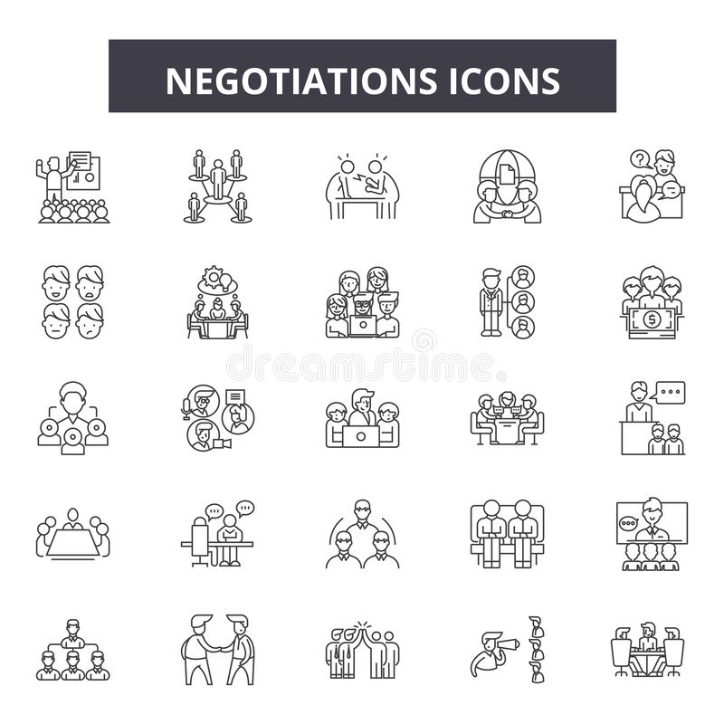 Переговоры выравнивают значки, знаки, набор вектора, концепцию иллюстрации плана бесплатная иллюстрация