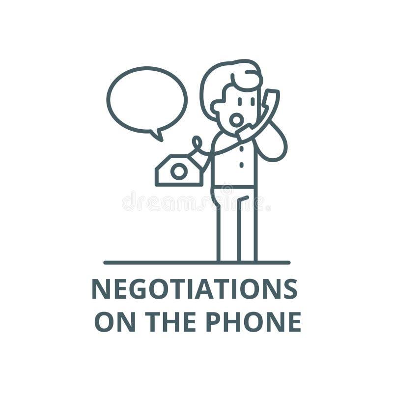 Переговоры на линии значке вектора телефона, линейной концепции, знаке плана, символе иллюстрация вектора