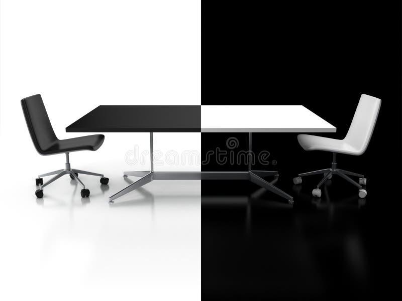 Переговоры, принципиальная схема конфронтации 3d иллюстрация штока