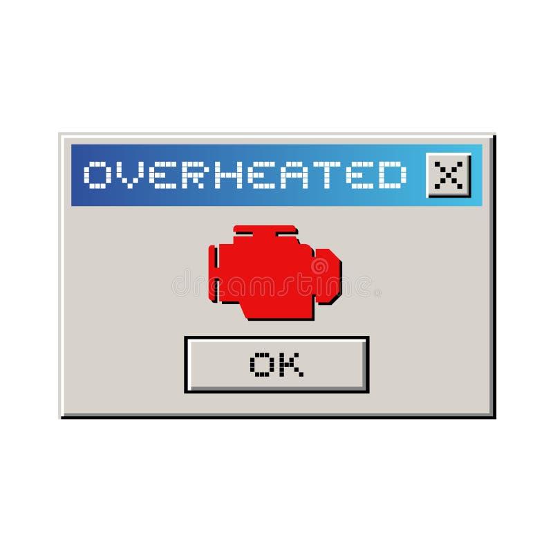 Перегретое сообщение компьютера иллюстрация штока