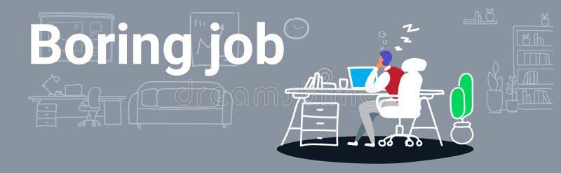 Перегружанный бизнесмен спать на бизнесмене рабочего места уставшем сидя на офисе и отдыхая во время работы расточкой дня работы бесплатная иллюстрация