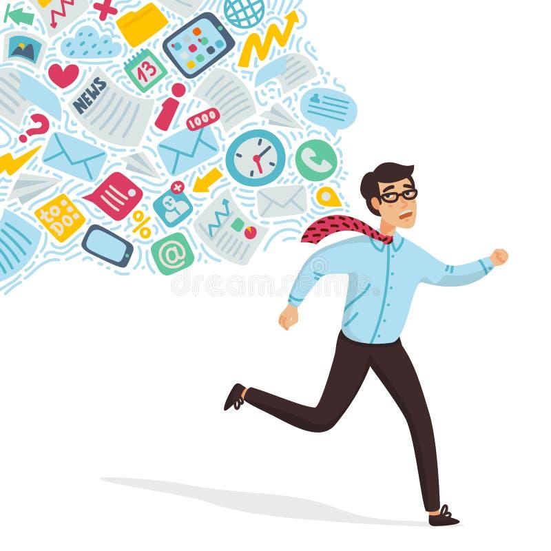 Перегружать входного сигнала Концепция информационной перегрузки Молодой человек бежать далеко от потока информации следуя его Ко иллюстрация вектора