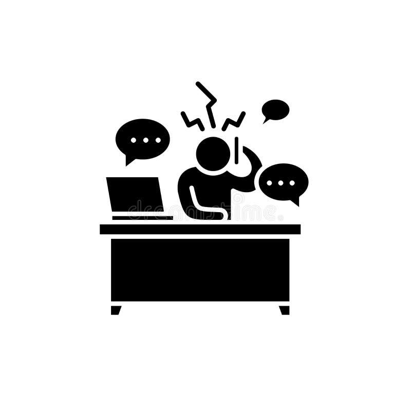 Перегрузки на значке работы черном, знаке вектора на изолированной предпосылке Перегрузки на символе концепции работы, иллюстраци иллюстрация штока