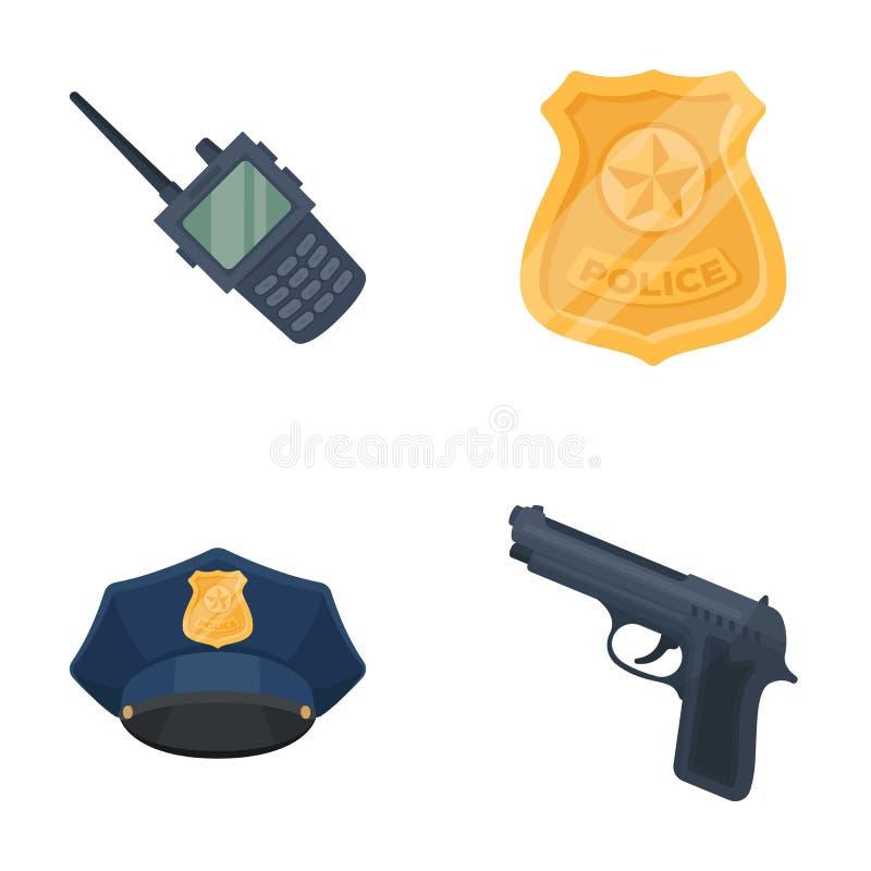 Передайте по радио, значок ` s полицейского, равномерная крышка, пистолет Значки собрания полиции установленные в шарже вводят за бесплатная иллюстрация