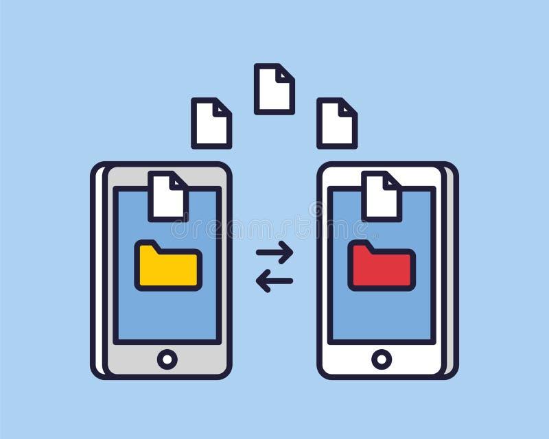 Передача файлов изображения данных между smartphone прибора Концепция обменом технических спецификаций файлов экземпляра передачи иллюстрация штока