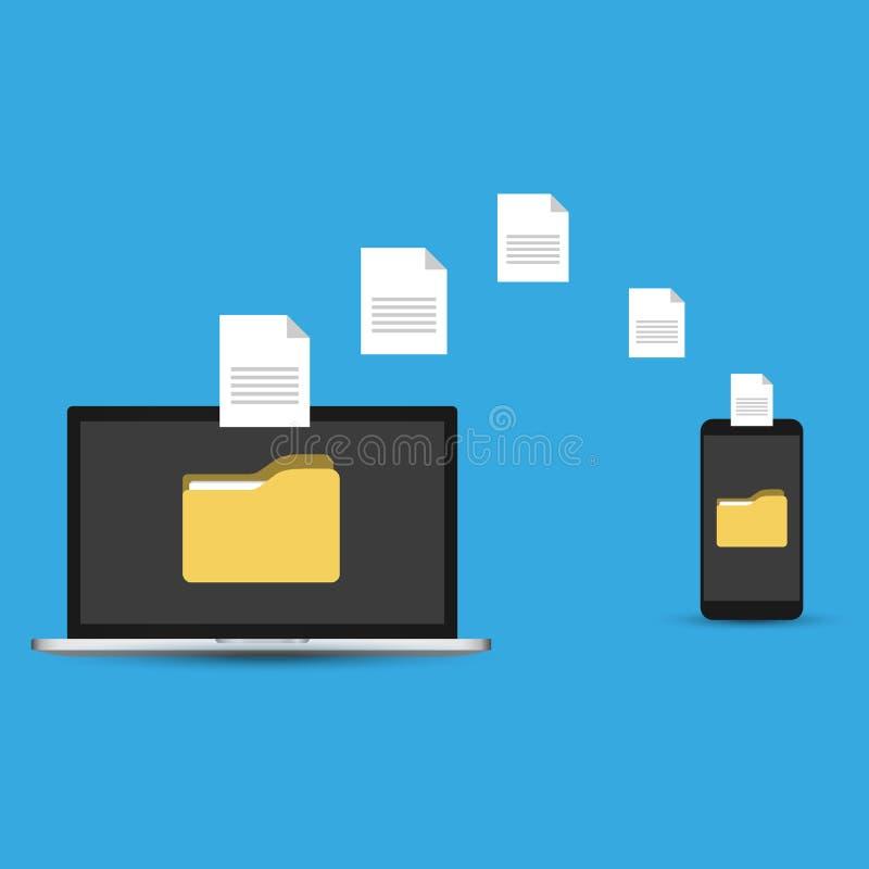 Передача файлов Смартфон удерживания руки с папкой на экране и документы перенесенные к ноутбуку Файлы экземпляра, подпорка, совм иллюстрация штока